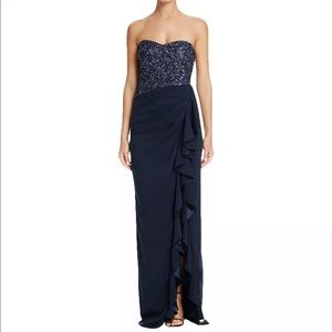 Badgley Mischka strapless sequin ruffle gown